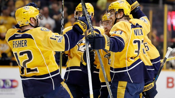 The Predators celebrate Ryan Ellis' first of two goals