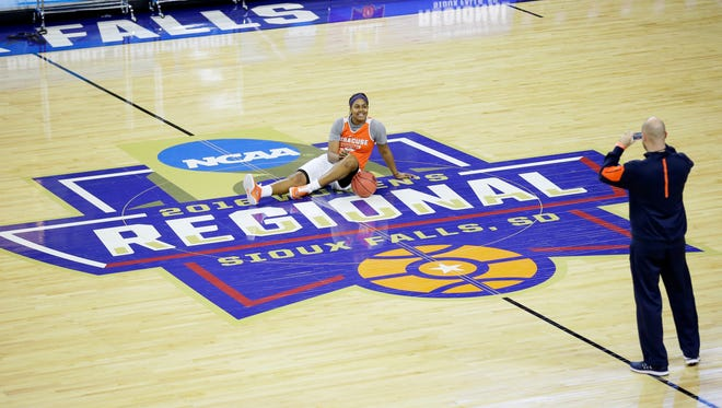 Syracuse forward Taylor Ford poses for a photo on the court during practice for a regional semifinal women's college basketball game in the NCAA Tournament on Thursday.