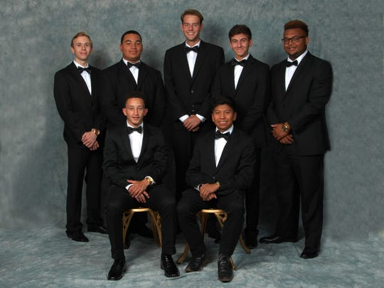 Members of the Opelousas High School King's Court seated left to right are Jordan Lemelle and Jose Enriquez. Standing are Christopher Messner, Caleb Villery, Jonathan Adams, Hunter Fontenot and Payton Duffy.  Villery was named King.