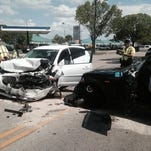 Two people in a Pontiac Vibe were taken to the hospital following a three-car crash on Fowler Sunday.
