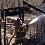 Crews fight a blaze on the 300 block of Steigerwalt Hollow Road in Fairview Township,