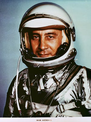 "(1961)  Astronaut Virgil I. ""Gus"" Grissom, pilot of the Mercury-Redstone 4 (MR-4) spaceflight. Grissom, one of the original seven astronauts, died Jan. 27, 1967, at NASA's John F. Kennedy Space Center Cape Canaveral Florida, in the Apollo 1 spacecraft fire"