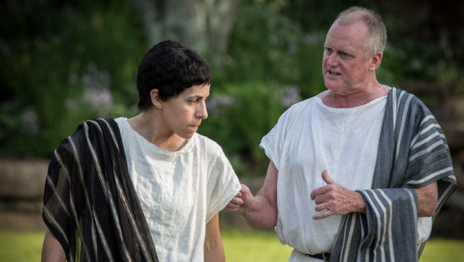 "Christina Delaine, left, stars as Brutus, and Wayne Tetrick plays Cassius in the Vermont Shakespeare Festival production of ""Julius Caesar."""