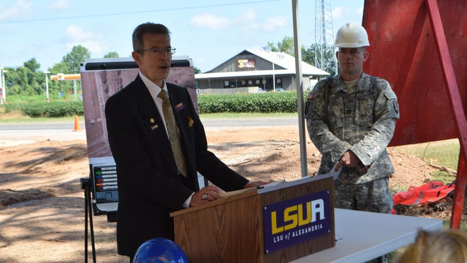 LSUA Chancellor Dan Howard (left) and Capt. Mike D'Aguiar of the Louisiana National Guard's 844th Horizontal Engineering Company describe ongoing projects to construct three new rugby fields and a pond at LSUA as part of LSUA's Campus Facilities Master Plan initiative.