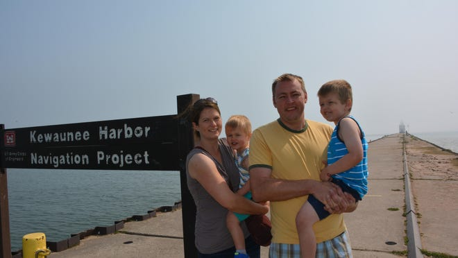 The Rentmeester family of Green Bay take time for a snapshot while visiting the Kewaunee Pierhead Lighthouse during their day trip to the county. Left to right, Keri, Ethan, Jason and Wyatt.