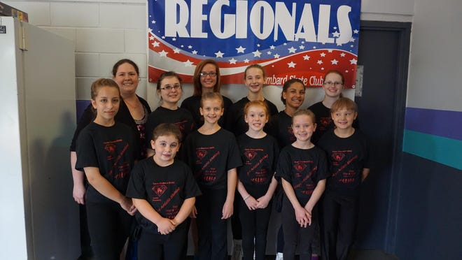 Allegro Artistic Skating Club members who attended regionals include, front row (from left): Sophia Moe, Mallory Furman, Lauren Aaholm, Gabrielle Zawacki, Addison Dinka, Serena Klosterman. Back row: Coach Dayna Quaid, Elizabeth Metzner, Haley Reiter, Emilie Anderson, Tiana Van Hout, Ashley Hacker.