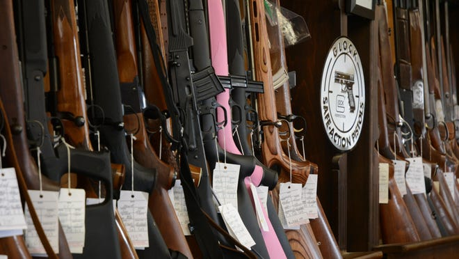 Guns for sale at Desert Hot Springs' Condor Gun Shop, open in the area since 1971.