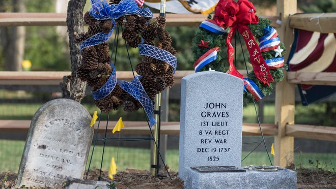 Grave markers from Daughters of the American Revolution, Sons of of the American Revolution and the VA for John Graves, a captain in the Culpeper Militia during the Revolutionary War, at a small cemetery in Hebron.