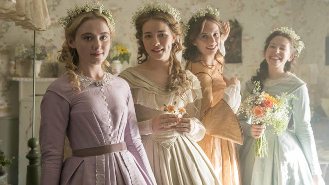 "This image released by PBS shows, from left, Kathryn Newton, Willa Fitzgerald, Maya Hawke and Annes Elwy in ""Little Women,"" airing on PBS Sundays, May 13 and May 20,"