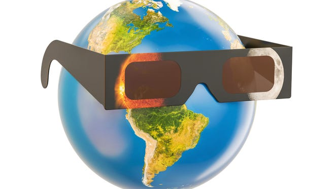 Solar Eclipse concept, Earth Globe with solar eclipse glasses. The source of the map https://svs.gsfc.nasa.gov/4537 and https://www.nasa.gov/sites/default/files/20140228_eclipse.jpg