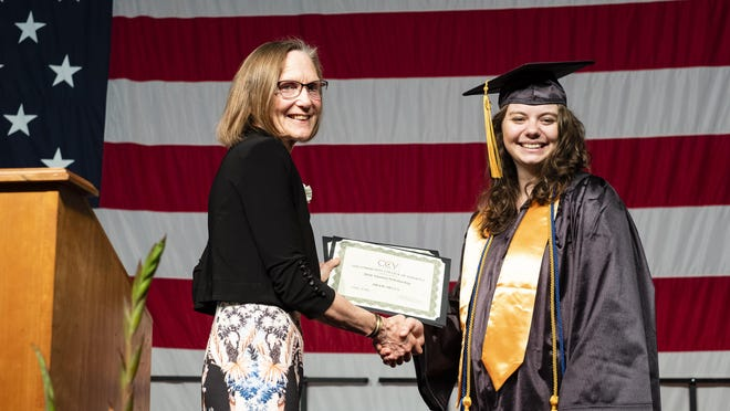 Burlington resident Brook Mecca, a student at CCV's Winooski academic center, was one of three Alumni Scholarship Award recipients.