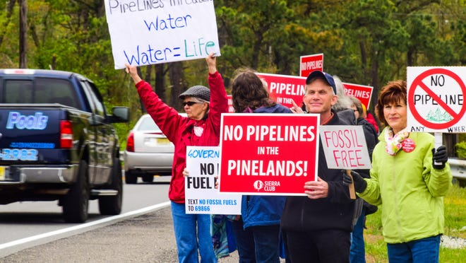 Opponents of New Jersey Natural Gas' planned Southern Reliability Link pipeline protest in Manchester, Ocean County to urge Gov. Phil Murphy and the Burlington County Freeholders to take action to block the project.