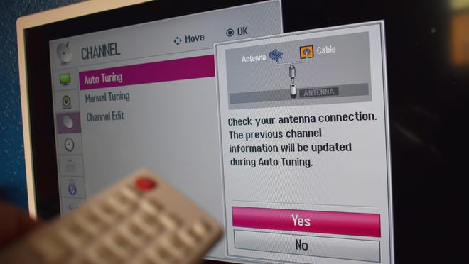 A television being prepared for a rescan of available channels. Local televison viewers receiving stations with an antenna had to rescan for updated channel information Monday after the local NBC, ABC and CW affiliate moved forward with a planned change in broadcast frequency.