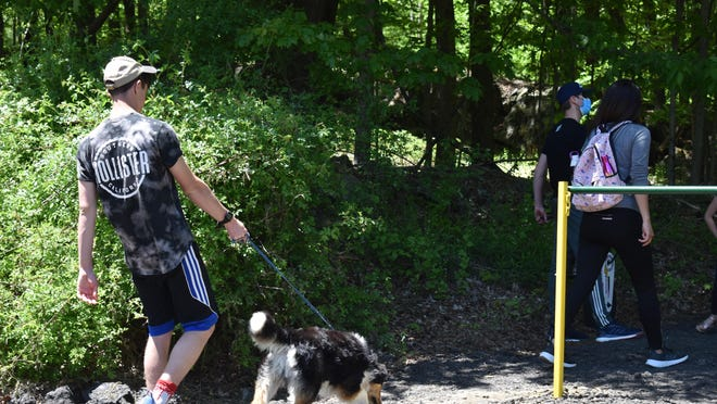 Jack Ruckdeschel, 17, of Mount Hope, walks his dog Dartford onto the new Reservoir Trails at Van Duzer Road on Sunday. He and his family came to run on the trails.