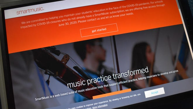 The smartmusic website on Tuesday with a notice to schools impacted by COVID-19. Ardmore High School band director Chauvin Aaron said his staff will trying online learning until school resumes.
