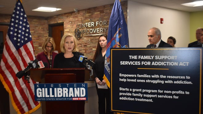 U.S. Sen. Kirsten Gillibrand speaks Friday at the Center for Recovery in Newburgh about a new bill she sponsored that would authorize up to $25 million in federal funding over five years for services that support the families of people suffering from drug addiction.