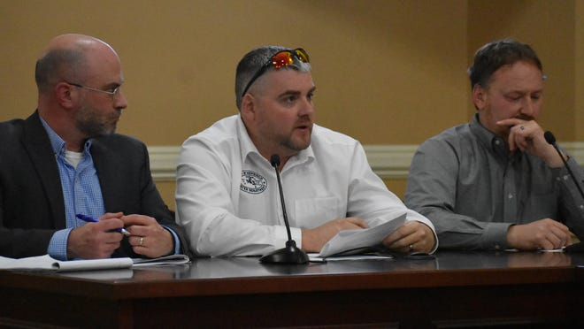 From left, Riverkeeper Drinking Water Quality Program Director Dan Shapley, City of Newburgh Water Superintendent Wayne Vradenburgh and City of Newburgh Engineer Jason Morris give a presentation about the city's watershed during a council work session Thursday at City Hall.