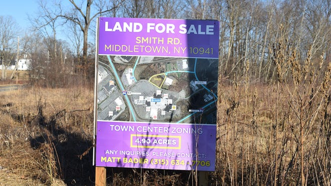 Land For Sale signs are still up on Smith Road and Galleria Drive for town center-zoned property where Pyramid Management Group, owners of the Galleria at Crystal Run, are proposing to build between 100 and 250 single- and double-bedroom apartments. The property is no longer listed for sale on several commercial real estate listings.
