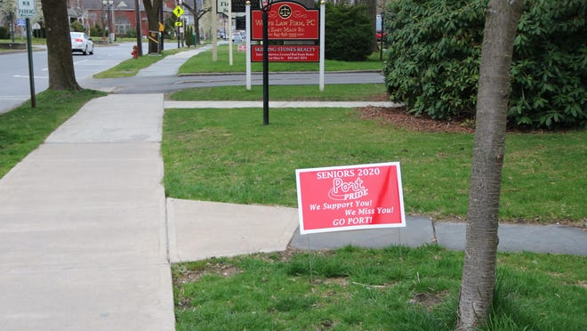Port Jervis School District administrators, faculty and other volunteers put up signs acknowledging seniors on their lawns around the city, including this one on East Main Street.