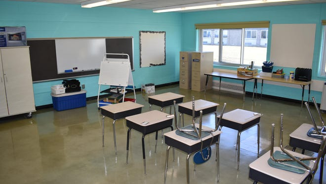 Pictured is one of the eight classrooms affected by a water-line break that flooded parts of the Minisink Valley Intermediate School on Jan. 21.
