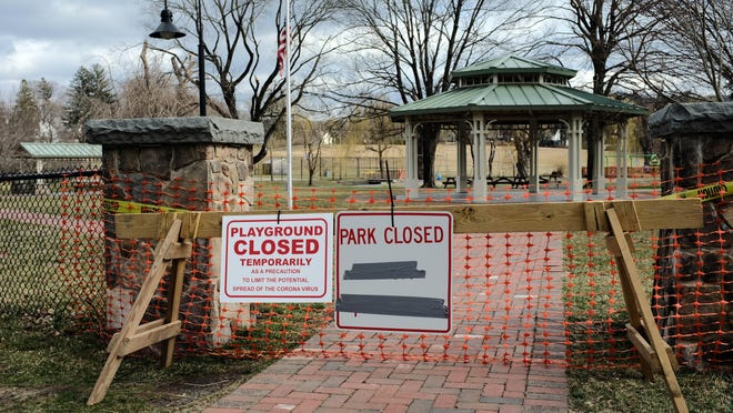 Stanley-Deming Park is fenced off in the Village of Warwick.