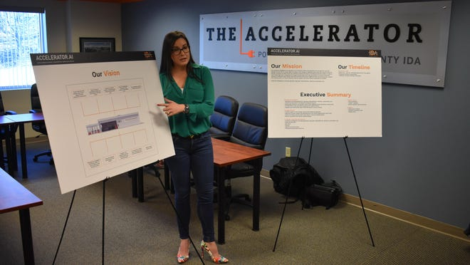 Laurie Villasuso, CEO of the Orange County Industrial Development Agency, briefs her staff on Monday at the IDA's New Windsor headquarters about plans for the IDA to open a new artificial intelligence-themed Accelerator incubator this year in Highland Falls.