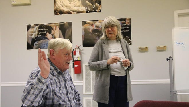 At the Port Jervis Landlord Association meeting last week, Wayne Kidney, left, said he got a flu shot last year, and for the first time in several years did not catch theflu. Registered nurse Terry Whitebook, right, said a vaccine hasn't been developed for the coronavirus but probably will be in the next year.