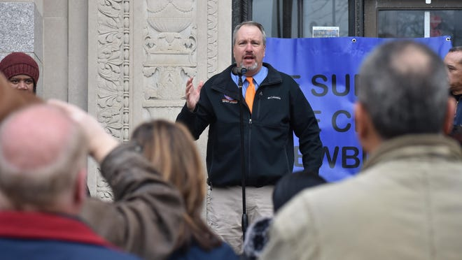 Orange County District Attorney David Hoovler speaks during a rally supporting City of Newburgh police Friday morning on Broadway.
