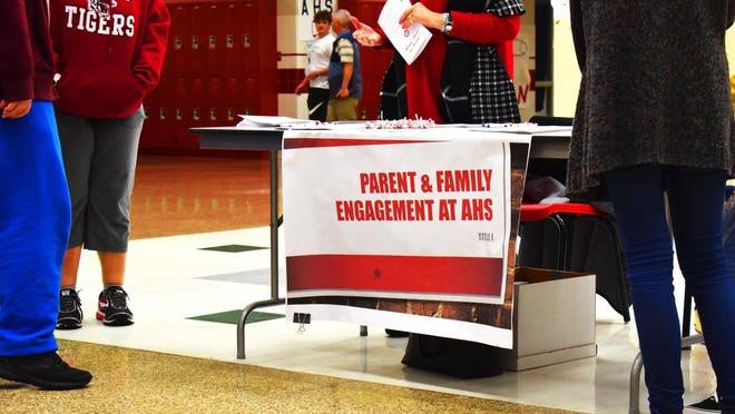 An information booth at Ardmore High School on Thursday. A college and career conference was held to give guidance to students nearing the end of their high school career.