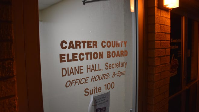 The Carter County Election Board on Tuesday night. Nearly 3,000 ballots from 21 precincts were counted by 8:30 p.m.
