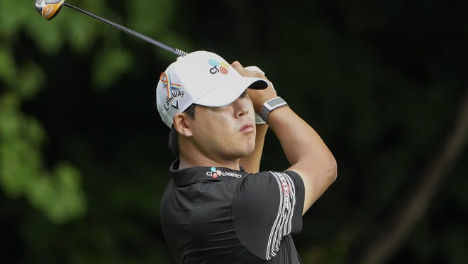 Si Woo Kim drives on the second hole during the third round of the Wyndham Championship on Saturday at Sedgefield Country Club in Greensboro, N.C.