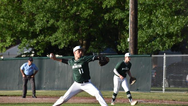 West Burlington's Dreyton LaVeine pitches Monday in West Burlington.