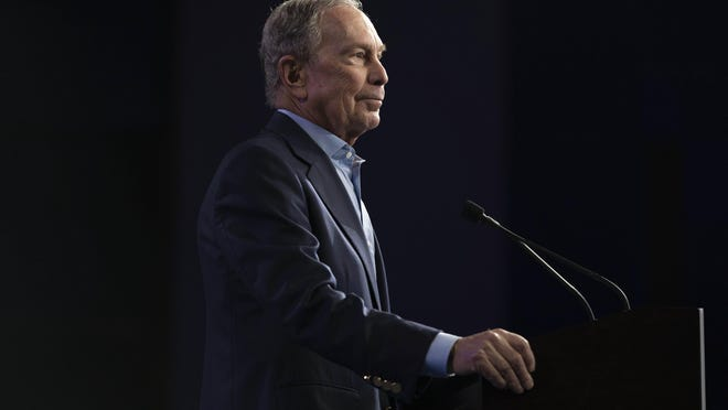 Former New York City Mayor Mike Bloomberg addressing the crowd at his rally on Super Tuesday in Palm Beach County Covention Center in West Palm Beach, Florida on March 3, 2020.