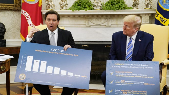 President Donald Trump listens during a meeting with Gov. Ron DeSantis, R-Fla., in the Oval Office of the White House, Tuesday, April 28, 2020, in Washington.