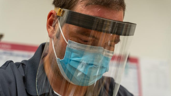 Photo shows one of the 170 face shields made by Max Planck Florida Institute for Neuroscience.