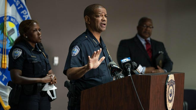 City Police Chief Frank Adderley explains the police response to protesters during a press conference with Assistant Chief Tameca West, left, and Mayor Keith James on June 1, 2020 in West Palm Beach, Florida.