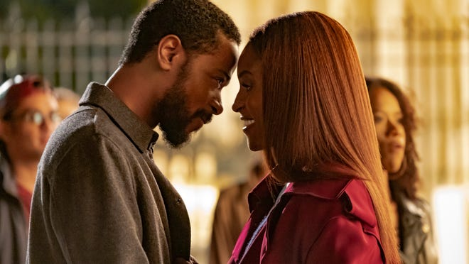"Michael Block (LaKeith Stanfield) and Mae Morton (Issa Rae) in ""The Photograph."""