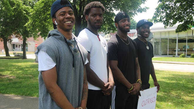 Former Raiders football team members, who graduated from Port Jervis High School in 2018, described racism they say they experienced in the school and in encounters with police. From left: Shameik Washington, Zay Stephens, Tyshon Morris and Henry Bowers.