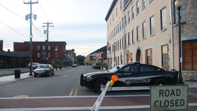 Front Street in Port Jervis was closed to traffic with police car barricades in the evenings last weekend.