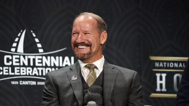Hall of Fame inductee Bill Cowher speaks to the media during the NFL Honors awards presentation at Adrienne Arsht Center, Feb. 1, 2020, in Miami. (Kirby Lee-USA TODAY Sports)
