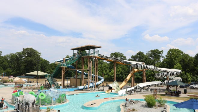 Families line up to go down the twisting zebra-patterned slide at Lions Water Adventure.