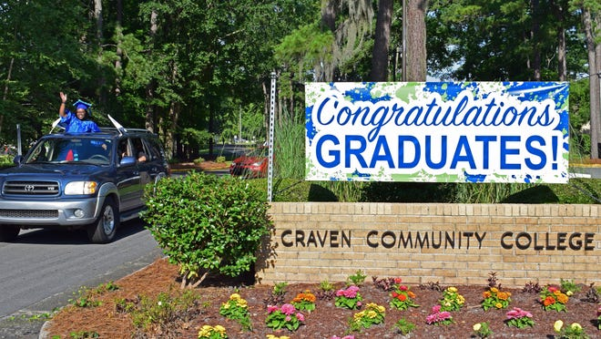 Craven CC's class of 2020 take part in the college's first drive-thru commencement ceremony from the comfort of their vehicles.