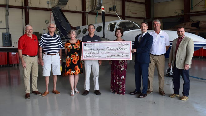 Craven CC was recently presented with a scholarship donation from the Havelock Chamber of Commerce's Military Affairs Committee (MAC). Pictured left to right: MAC members Bill Egen, Lou Balogh, and Brenda Wilson; Craven CC President Dr. Ray Staats; Havelock Chamber Executive Director Erin Knight; MAC Chairman Bruce Fortin; Craven CC Director of Aviation Programs Mark Marsteller; and Craven CC Dean of the Havelock Campus Wally Calabrese.