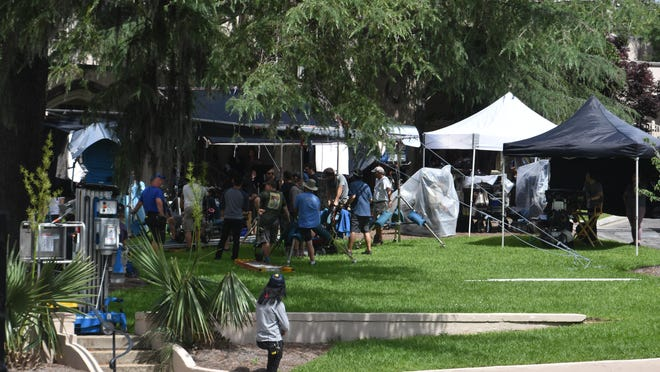 """The cast and crew of """"Words on Bathroom Walls"""" films a scene at St. James Episcopal Church in downtown Wilmington in May 2018."""