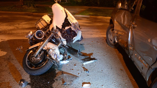 The scene where Akron motorcyle officer Jason McKeel collided with a minivan driven by a drunken driver. McKeel sustained multiple injuries in the crash.