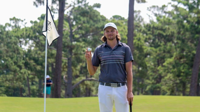 Blake Taylor of Atkinson, here after his hole in one at the Carolinas Amateur earlier this summer, hopes to add a Wilmington City Amateur title to his strong results from 2020.