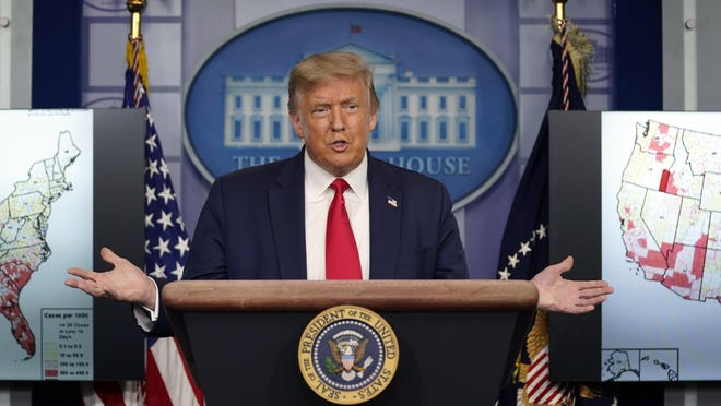 President Donald Trump speaks during a news conference at the White House, Thursday, July 23, 2020, in Washington.