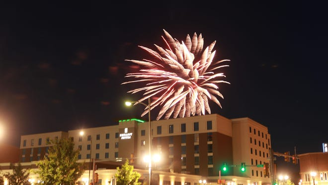 Fourth of July Fireworks light up the sky over downtown Amarillo during the Amarillo Chamber of Commerce Fireworks Extravaganza.