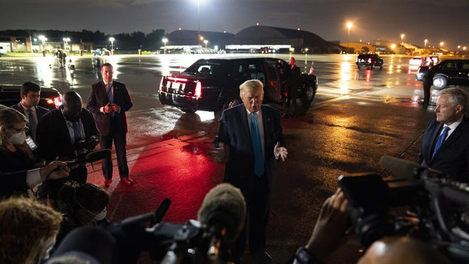 President Donald Trump talks with reporters at Andrews Air Force Base after attending a campaign rally in Latrobe, Pa., Thursday, Sept. 3, 2020, at Andrews Air Force Base, Md.