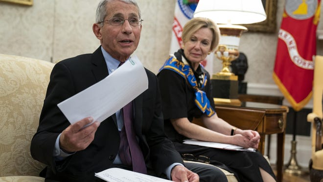 National Institute of Allergy and Infectious Diseases Dr. Anthony Fauci, left, and White House coronavirus response coordinator Dr. Deborah Birx attend a meeting in the Oval Office on April 29. On Thursday, Fauci said if there's a second wave of the coronavirus pandemic this fall, pro football may not be played this year.